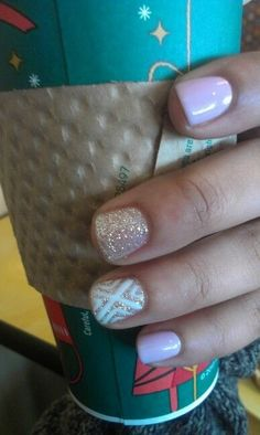Tan and white nails