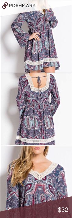 ❗️FLASH SALE❗️Paisley Babydoll dress 100% rayon. Long bell sleeve. Vneck with lace detail.  Tie in back PRICE FIRM UNLESS BUNDLED A Bohemian Child Dresses Mini