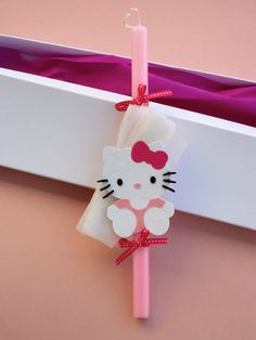 Λαμπαδα HelloKitty. HelloKitty decorated Easter candle. Easter Candle, Greece, Hello Kitty, Candles, Christmas Ornaments, Holiday Decor, Home Decor, Greece Country, Decoration Home