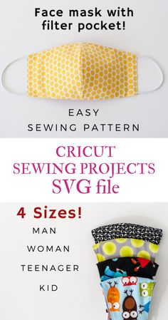 Face Mask Sewing Pattern PDF Mask with filter pocket Washable Reusable Mask Dust mouth Mask Beginner project DIY mask for kids man woman - Face Mask Sewing Pattern PDF Medical Mask with filter pocket Washable Reusable Mask Dust mouth Mask - Easy Sewing Patterns, Sewing Tutorials, Sewing Hacks, Sewing Projects, Pattern Sewing, Fabric Sewing, Pattern Fabric, Free Pattern, Diy Projects