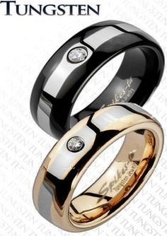 New Set(2)Tungsten Black/Rose Gold CZ Band Rings/Wedding/Couples/His&Hers(127x2) in CZ, Moissanite & Simulated   eBay