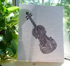 Black and White Violin Abstract Swirly Doodle by CreativeAttempts, $25.00