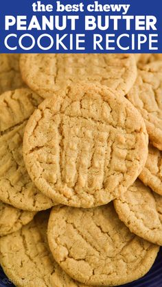 These old fashioned Peanut Butter Cookies are slightly crisp on the outside, chewy and soft on the inside, and have the best peanut butter flavor. Classic Peanut Butter Cookie Recipe, Chewy Peanut Butter Cookies, Butter Cookies Recipe, Peanut Butter Recipes, Creamy Peanut Butter, Easy No Bake Desserts, Delicious Desserts, Cookie Recipes, Dessert Recipes