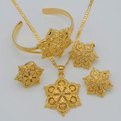Vàng Flowers đặt Đồ Trang Sức Phụ Nữ Mạ Vàng Mặt Dây Chuyền Vòng Cổ/Bông Tai/Ring/Bangle Phi/Arabian/Ethiopia Jewellery #047106