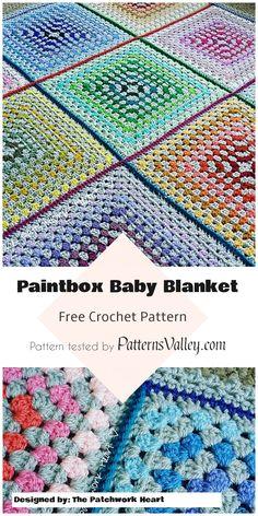 Paintbox Crochet Baby Blanket - Free Pattern #paintbox #crochetpattern #babyblanket #crochetblanket