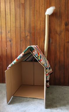 simple cardboard box cubby house for kids