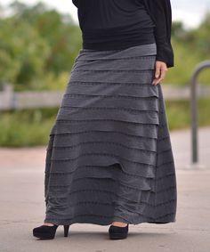 Gray Tiered Ruffle Maxi Skirt | Daily deals for moms, babies and kids
