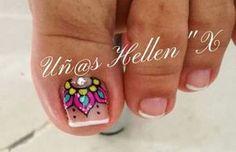 Uñas Toenail Art Designs, Pedicure Designs, Manicure E Pedicure, Fancy Nails, Love Nails, Pretty Nails, Feet Nails, Nail Decorations, Toe Nail Art