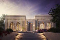 El-Kindi Mansion on Behance Hotel Design Architecture, Mosque Architecture, Modern Architecture House, Villa Design, Facade Design, Exterior Design, House Outside Design, House Front Design, Classic House Design