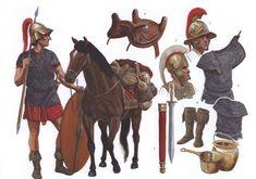 Boiotian helmet Attic helmet short, iron mail shirt Thracian-style boots Greek-pattern sword Celtic four-horned saddle Ancient Rome, Ancient Greece, Ancient History, Punic Wars, Rome Antique, Roman Legion, Greek Warrior, Empire Romain, Roman Republic