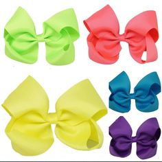 """Neon Fluorescent  6"""" Hair Bows Perfect for summer  Visit your 'One Stop Hair Bow Shop'  www.bowlicious.co.uk"""
