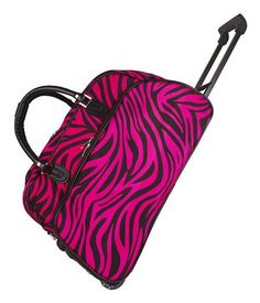 World Traveler Pink Black Zebra Rolling Wheeled Duffle Bag 21-inch ** Don't get left behind, see this great  product : Christmas Luggage and Travel Gear