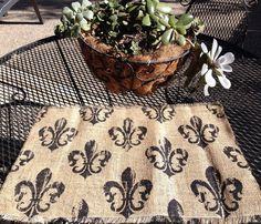 SALE : Printed Fleur De Lis Burlap Placemat For Weddings, Events, Kitchen,  Home