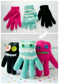 Reuse single gloves to make stuffed little monsters
