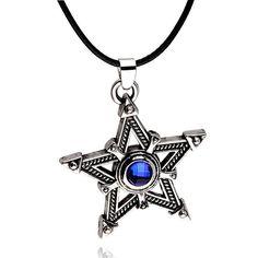 Tibetan Silver Pentagram Blue Crystal Pendant Necklace   eBay