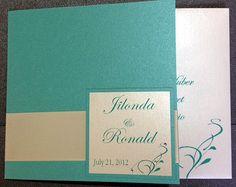 SAMPLE Pocketfold Wedding Invitation  TIFFANY Blue by CartesAmour, $6.00