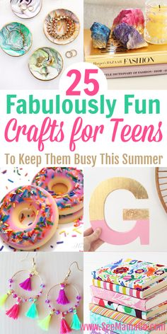 25 Fabulously Fun Crafts for Teens and Tweens, DIY and Crafts, Looking for some fun and easy projects your teen can work on this summer? These DIY crafts for teens and tweens are perfect for them to make or sell t. Kids Crafts, Diy Crafts For Tweens, Teen Girl Crafts, Fun Diy Crafts, Diy For Girls, Diy For Teens, Creative Crafts, Tween Girls, Kids Diy