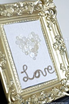 Button and Jute Heart Valentine's Frame