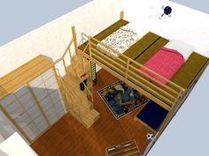 Soppalco letto Rising, soppalco in legno con regolazione dell'altezza elettricamente