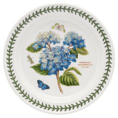 "Portmeirion Botanic Garden Dinner Plate Hydrangea by Portmeirion. $29.99. Design By Susan Williams-Ellis. Various flowers portrayed with the name and species given for each. Butterfly/Dragonfly Accents. Made In China. Dimensions: 10 1/2"" Dia. Dinner Plate Hydrangea - Various Flowers Portrayed With The Name And Species Given For Each - Butterfly/Dragonfly Accents - White Background - Laurel Leaf Band On Rim - Design By Susan Williams-Ellis - Made In China"