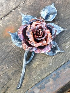Forged, Butchered and Tenon joined Rose Sculpture - Mild Steel & Copper. Chris Spilak - Artfullycrooked, Winnipeg, MB.