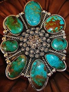 NATIVE-AMERICAN-TURQUOISE-LEATHER-BRACELET-149g-Sterling-Silver-CHAVEZ-4-8-wide
