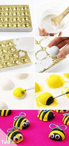 Tinker bees - Instructions and ideas for different materials - Tinker Bees – Instructions – Plaster – Talu. Diy Crafts To Do, Upcycled Crafts, Preschool Crafts, Crafts For Kids, Arts And Crafts, Spring Crafts, Candle Making, Kids And Parenting, Diy For Kids
