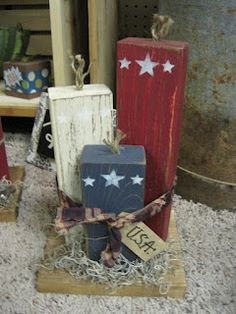 Sugar 'n Spice: New Vendor - Wood Crafts - Porch Posts Fourth of July Independence Day patriotic 2x4 Crafts, Wood Block Crafts, July Crafts, Summer Crafts, Wooden Crafts, Holiday Crafts, Crafts To Make, Wood Projects, Craft Projects