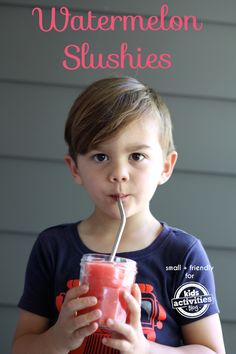 Kid Made Watermelon Slushies - LOVE this recipe! What a smart idea for kids.