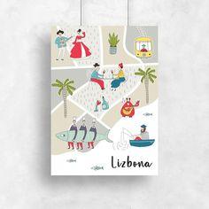 Lizbona na plakacie pionowym - ludzie, tramwaje i łódki