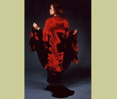 Ina Kozel:  Koat: Black and Red Acid dyes and wax resist on silk.