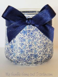 French Yogurt Jars - More Ideas For These Cute Jars . Step by step directions for Oui upcycling yogurt jars. Crafts With Glass Jars, Small Glass Jars, Jar Crafts, Gift Crafts, Bottle Crafts, Decoupage Jars, Napkin Decoupage, Decoupage Furniture, Painted Furniture