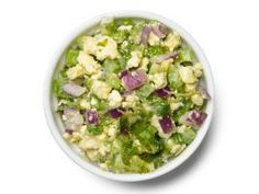 Buffalo Relish : Mix 1 cup each crumbled blue cheese and diced celery, 1/4 cup diced red onion, 2 tablespoons each chopped celery leaves and mayonnaise, and 2 teaspoons hot sauce.