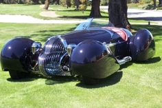 Blastolene B-702  French curve car design ala 1930 Delahaye called the B702 . It has a hand formed aluminum body is finished in a dark blue with a Maroon leather interior. A GMC 702 cu.in. V12 and an Allison 4 speed automatic for power. Also features a glass grille and hand blown taillights. This project took 4500 hours over a 2.5 year period to complete