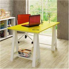 Mesa Cavalete Escritório de Madeira em Laca B/Amarelo - Casatema - Mesas para Computador e Escrivaninhas no Extra.com.br-preço:529,00