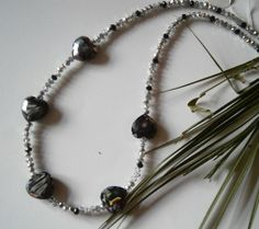 """20"""" BLACK & SILVER CRYSTAL BEADED NECKLACE WITH LARGE HEART SHAPED BEADS - Creative Connections"""