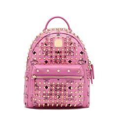 MCM Mini Diamond Stark Backpack In Pink