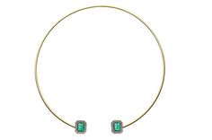 Trend tracking: collars and chokers. Another from Jemma Wynne, this 18-karat gold open collar features Gemfields Zambian emeralds and blackened pave diamonds ($12,600).