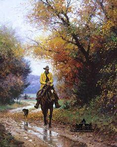 Somerset Fine Art - Rainy Autumn by Martin Grelle Cowboy Images, Cowboy Pictures, Landscape Art, Landscape Paintings, Arte Equina, Horse Artwork, Cowboy Art, Cow Girl, Le Far West