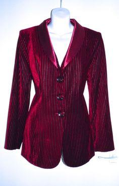 VTG 80s GAIL HOPPEN Pinstripe Velvet Satin Fitted Evening Jacket Women Ladies 16