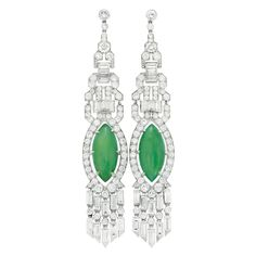 Pair of Art Deco Platinum, Diamond and Jade Pendant-Earrings