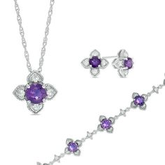 #ZALES - #Zales Amethyst and White Topaz Vintage-Style Flower Pendant, Bracelet and Stud Earrings Set in Sterling Silver at Zales - AdoreWe.com