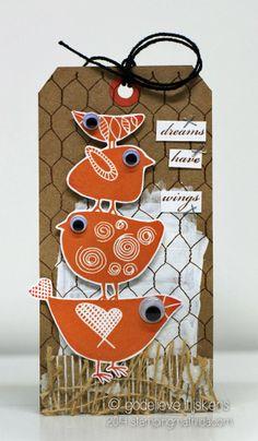 Darkroom Door Carved Birds Vol 1 Rubber Stamp Set & Chicken Wire Background Stamp. Tag created by Godelieve Tijskens. http://www.darkroomdoor.com/rubber-stamp-sets/rubber-stamp-set-carved-birds-vol-1