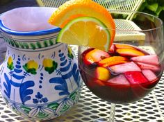sangria:) my dad made this when i went to mississippi to visit the grandparents, so delicious, you dont need to add soda or seltzer either