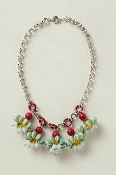 ANTHROPOLOGIE CANDY CLUSTER NECKLACE GLASS FLOWERS BAUBLE CREW
