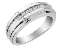 Mens Diamond Wedding Band 1/4 Carat (ctw) in 14K White Gold
