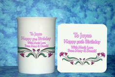 Birthday Gift Idea For Women Bone China Personalised Mug With Matching Wood Based
