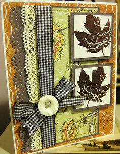 So many wonderful layers, trims and details at work on this lovely autumn card. #card #Thanksgiving #handmade #ribbon #buttons #autumn #fall #scrapbooking #CTMH