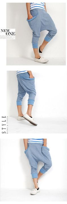 What is is with me and Korean men's fashion? All I've been posting is clothing from Asian brands. light blue harem pant,, love the color and funky pockets