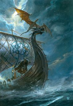 Viking ship and flying dragon art by Didier Graffet